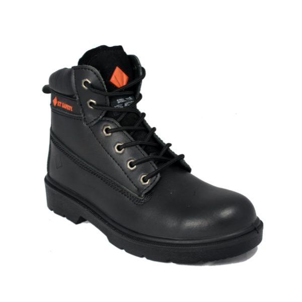 Work Boot - ET Safety Black 10006 Lace up Work Boot - front view