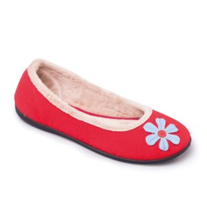 Ladies Slipper - Happy Red Padders Slipper - front view