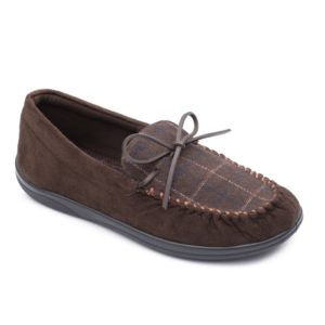 Mens Slipper - Lounge Brown Combi Padders Slipper - front view