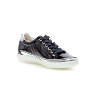 Gabor Amulet Navy Silver Trim Casual Wide Fit Shoe Front RS - 4645886