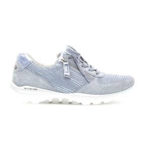 Gabor Pale Blue Rolling Soft Ladies Casual Lace Zip Trainer Side RS - 4696883