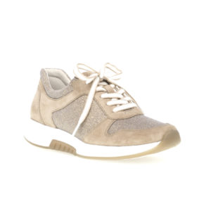 Gabor-Rolling-Soft-Beige-Metallic-Casual-Trainer-Front-RS-4694612