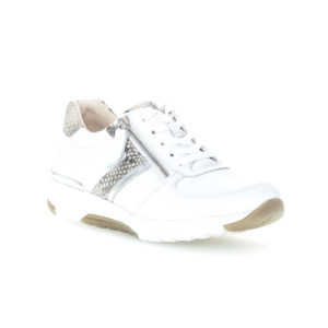 Gabor Rolling Soft Ladies White Silver Casual Trainer Front RS - 4697851