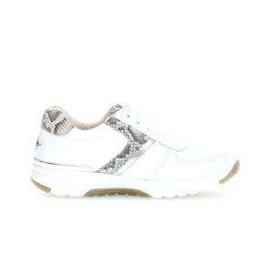 Gabor Rolling Soft Ladies White Silver Casual Trainer Side RS - 4697851
