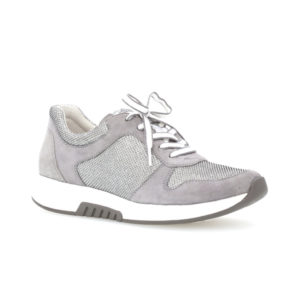Gabor Rolling Soft Mary Grey Metallic Laides Casual Trainer Front RS - 4694615