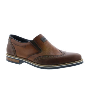 Rieker-Mens-Brown-Leather-Slip-on-Brogue-Shoes-1356025