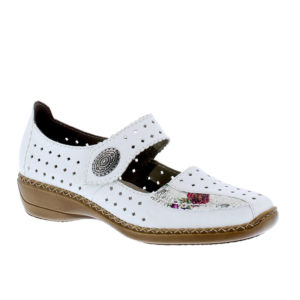 Rieker White Mary Jane Style Ladies Shoes - 413J380