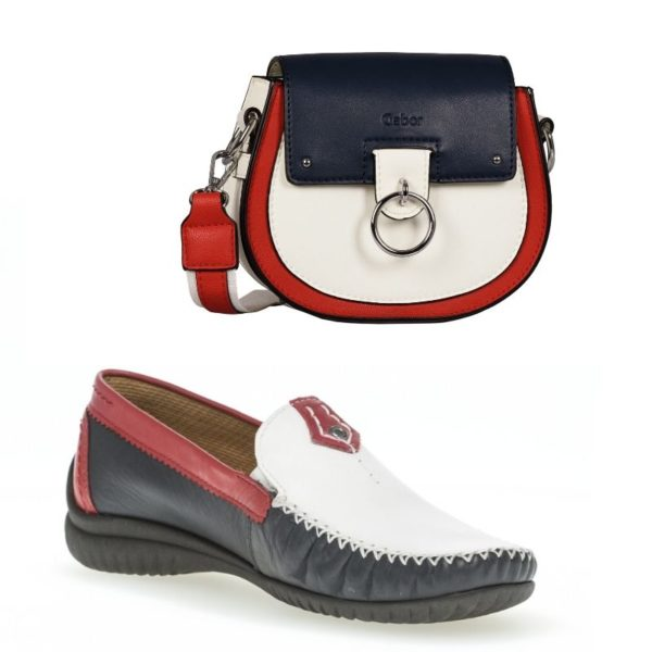 Gabor - Navy & Red Bag Shoe Twin Set GSB001