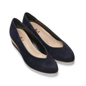 Van Dal Ariah Midnight Navy Summer Suede Slip on Ladies Shoe Pair Front - 2662 4102
