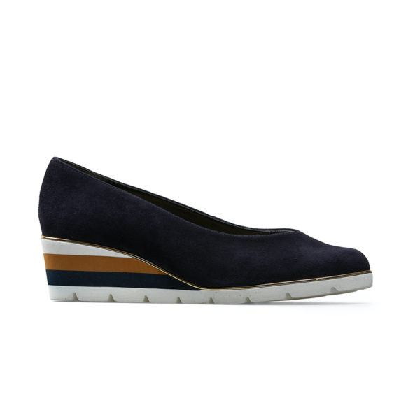 Van Dal Ariah Midnight Navy Summer Suede Slip on Ladies Shoe Side - 2662 4102