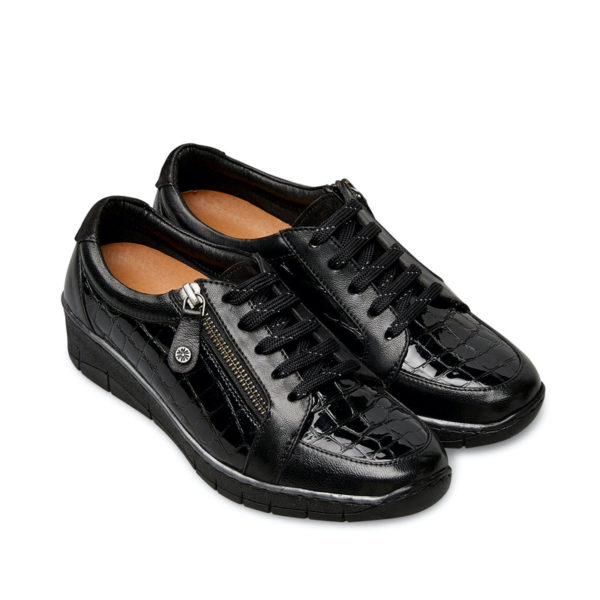 Van Dal Aubrey Ladies Wide Fitting Black Patent Zip Lace up Casual Wedge Shoe Pair Front - 3077 1004