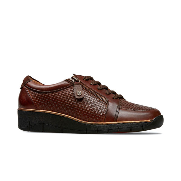 Van Dal Aubrey Ladies Wide Fitting Conker Brown Zip Lace up Casual Shoe Side - 3077 2901