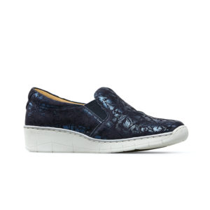 Van Dal Ripple Wide Fit Midnight Navy Bouquet Print Slip on Ladies Shoe Side - 3017 4105