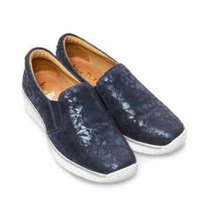 Van Dal Ripple Wide Fit Midnight Navy Bouquet Print Slip on Ladies Shoe Pair Front - 3017 4105