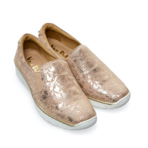 Van Dal Ripple Wide Fit Sesame Beige Metallic Slip on Ladies Casual Shoe Pair Front - 3017 2305