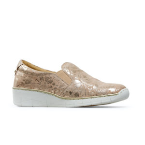 Van Dal Ripple Wide Fit Sesame Beige Metallic Slip on Ladies Casual Shoe Side - 3017 2305