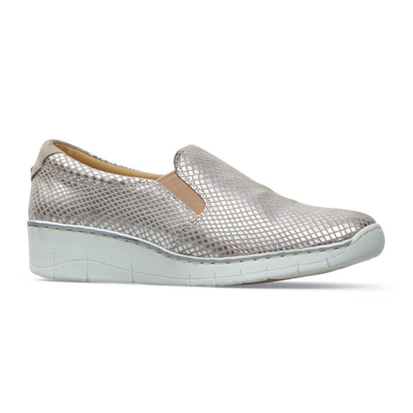 Van Dal Ripple Wide Fit Silver Slip on Ladies Casual Sporty Shoe Side - 3017 7105