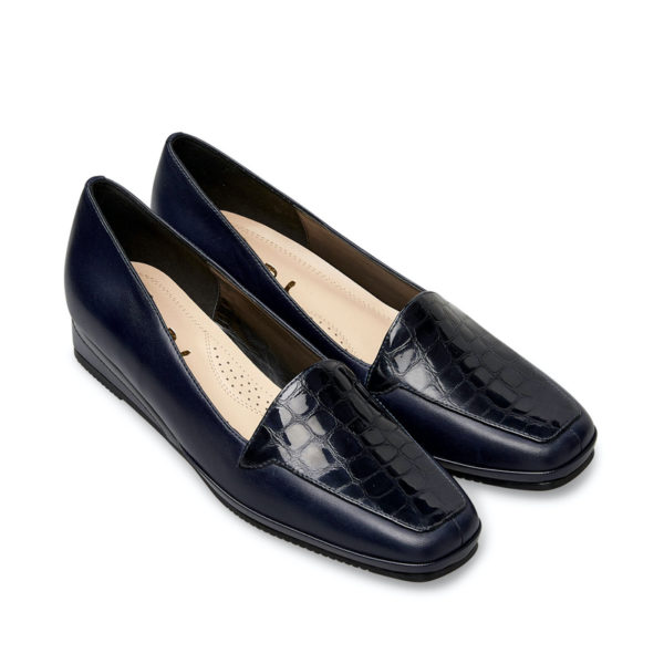Van Dal Verona III Midnight Navy Ladies Wedge Shoe Pair Front - 0639 4101