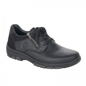 Rieker Black Mens Casual Shoe with Zip and Lace Fastening 19921-00