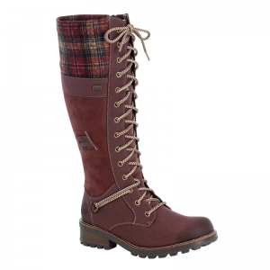 Rieker-Ladies-Wine-Knee-High-Lace-Boot-with-check-pattern-Z0442-36