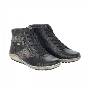 Remonte Ladies Black Multi Print Casual Ankle Boot Pair R1497-45