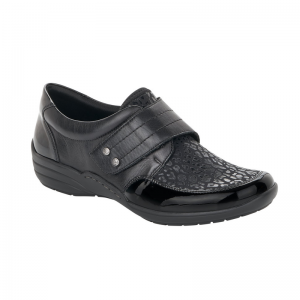 Remonte Ladies Black Shoe with Print Detail R7632-02
