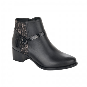 Remonte Ladies Black Snake Skin Detail Ankle Boot R5180-02