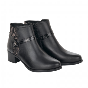 Remonte Ladies Black Snake Skin Detail Ankle Boot Pair R5180-02